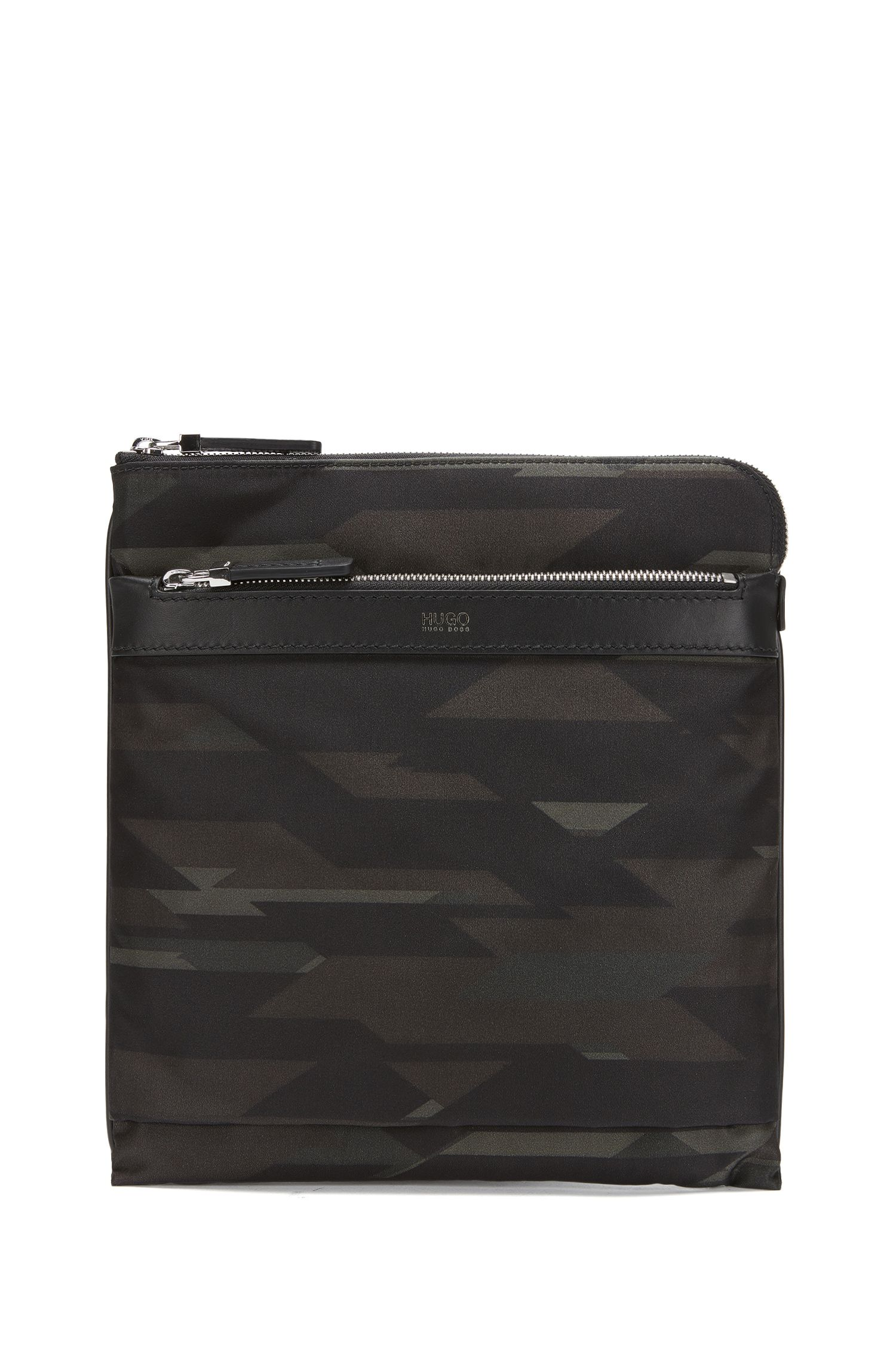 Camouflage-print nylon envelope bag with leather trim