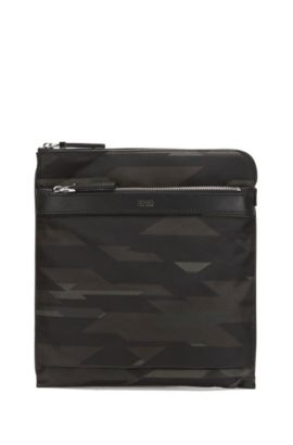 Camouflage-print nylon envelope bag with leather trim, Patterned