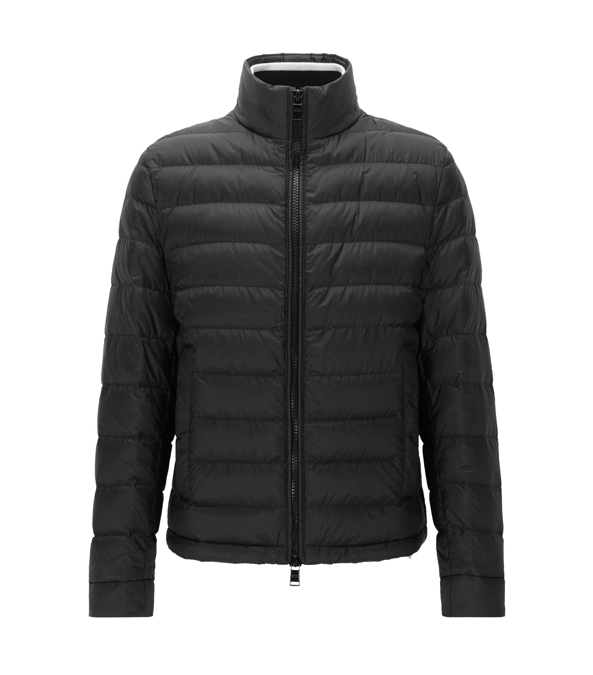 Relaxed-fit packable down jacket in water-repellent technical fabric, Black
