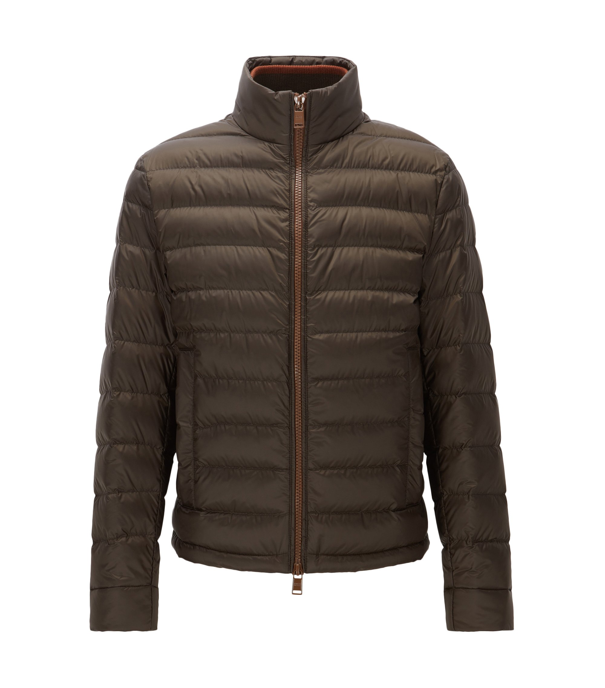 Relaxed-fit packable down jacket in water-repellent technical fabric, Khaki