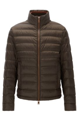 Relaxed-fit packable down jacket in water-repellent technical fabric, Brown