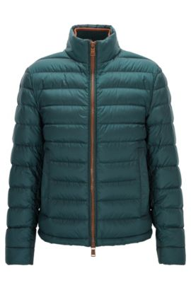 Relaxed-fit down jacket in water-repellent technical fabric, Vert sombre