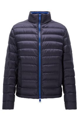 Relaxed-fit down jacket in water-repellent technical fabric, Bleu foncé