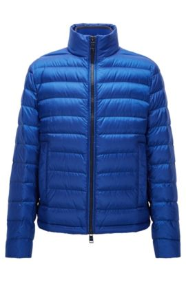 Relaxed-fit down jacket in water-repellent technical fabric, Bleu