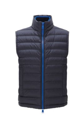 Relaxed-fit gilet in water-repellent technical fabric, Bleu foncé