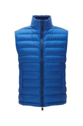 Gilet relaxed fit in tessuto tecnico idrorepellente, Blu