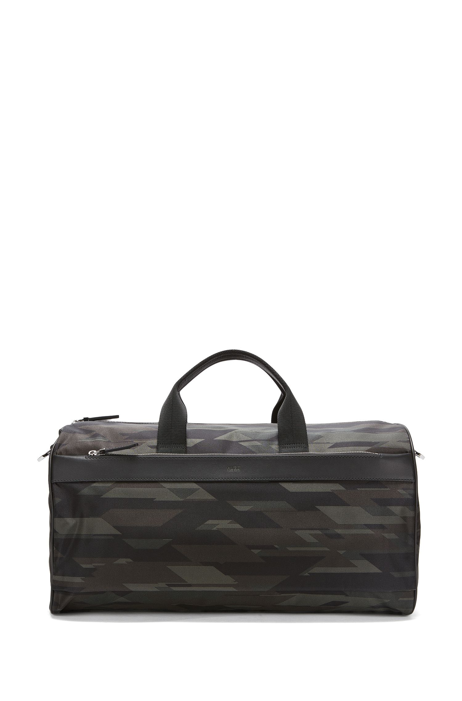 Camouflage-print nylon holdall with leather trims