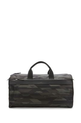 Camouflage-print nylon holdall with leather trims, Patterned