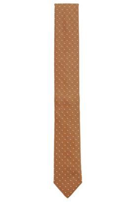 Patterned pure silk tie, Brown