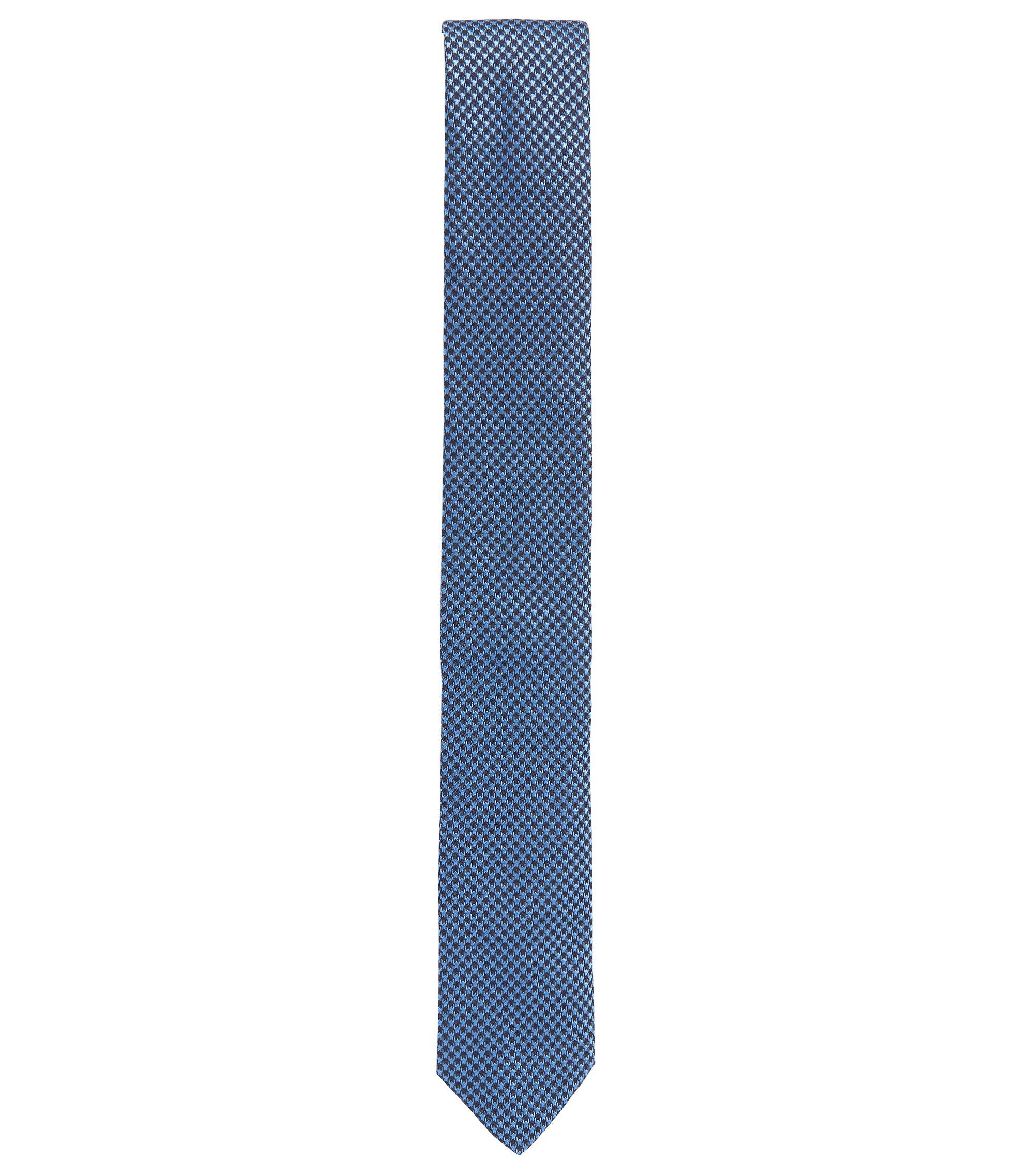 Gemusterte Krawatte aus reiner Seide, Dunkelblau
