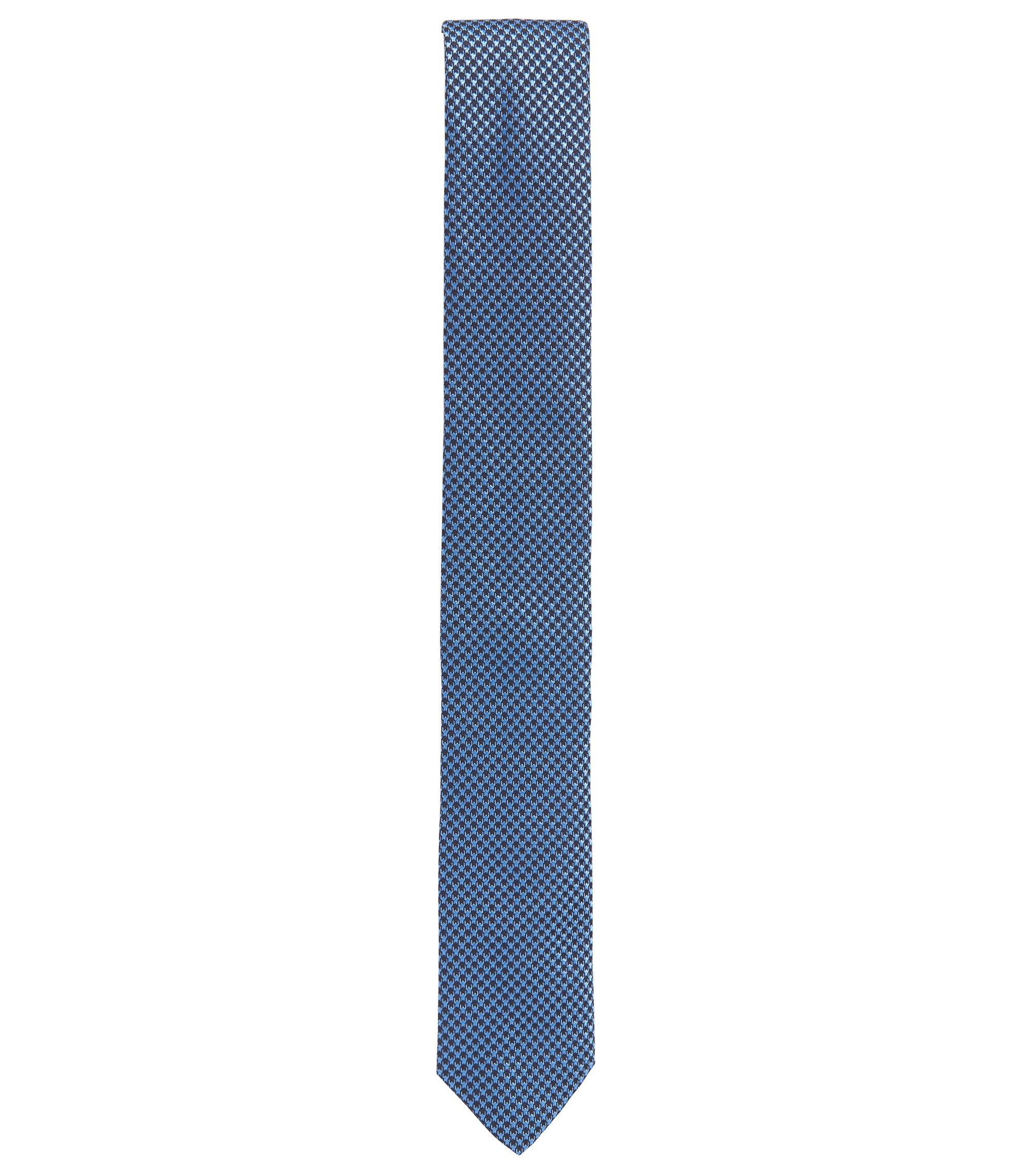 Corbata estampada en pura seda, Azul oscuro