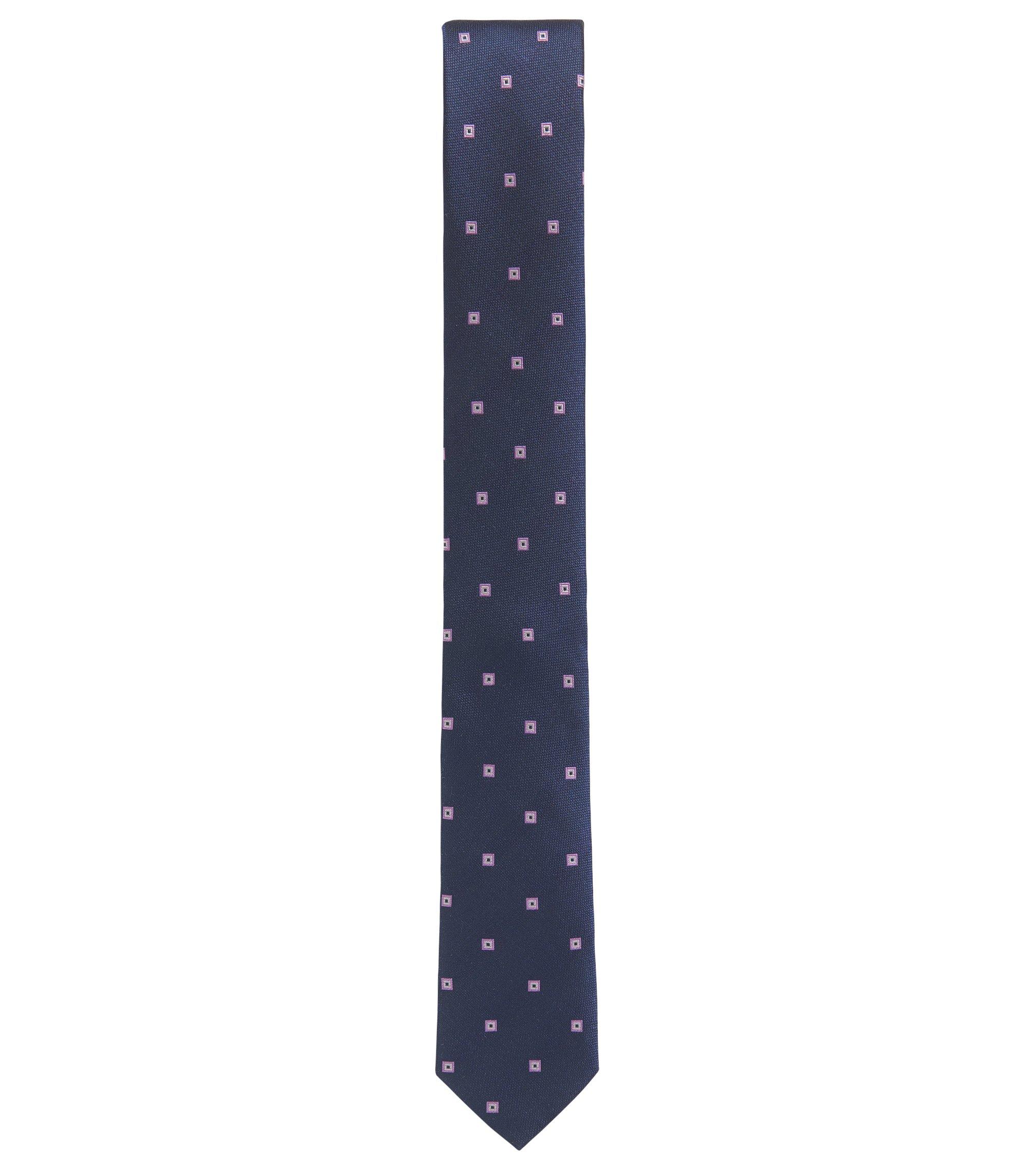 Cravate jacquard en soie à motif, Bleu foncé