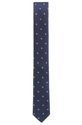 Jacquardstropdas van zijde met dessin, Donkerblauw