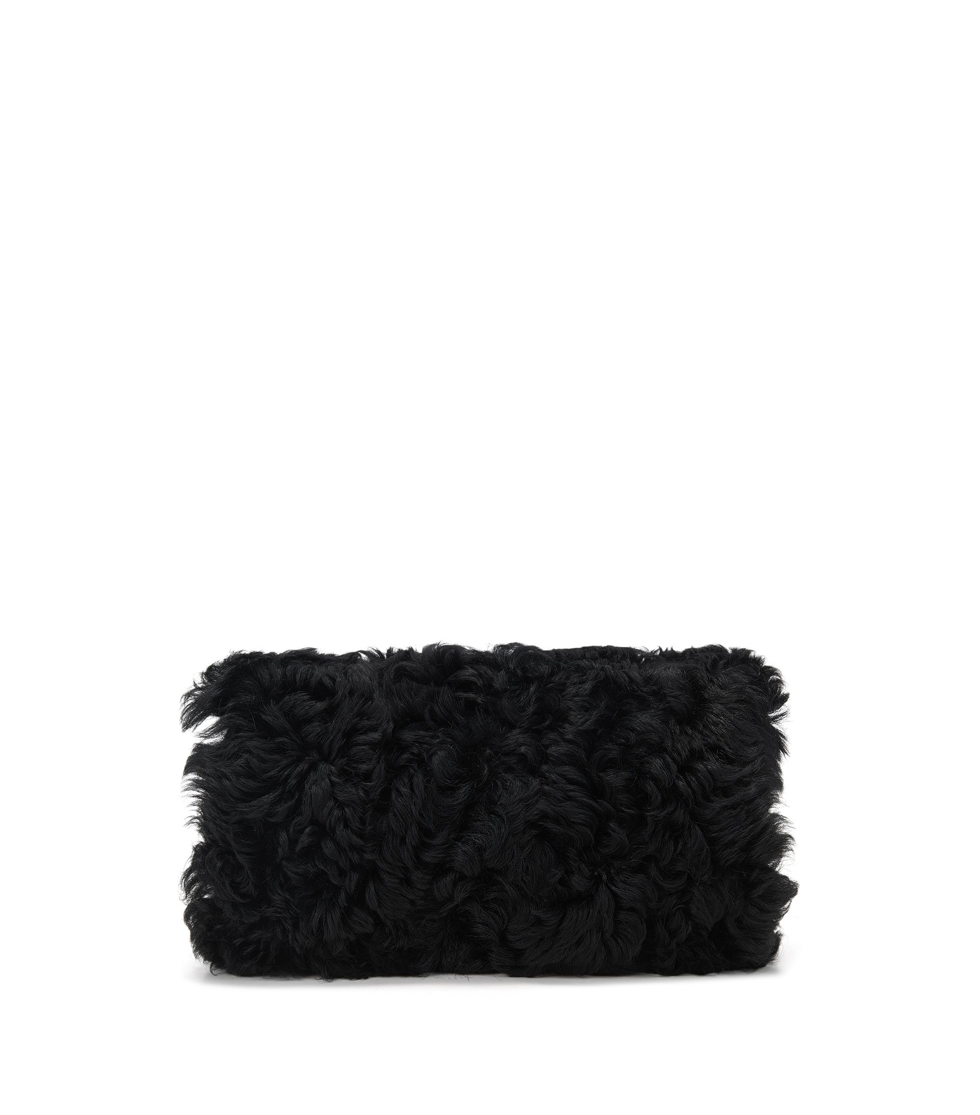 Shearling hand muff with chain detail, Black