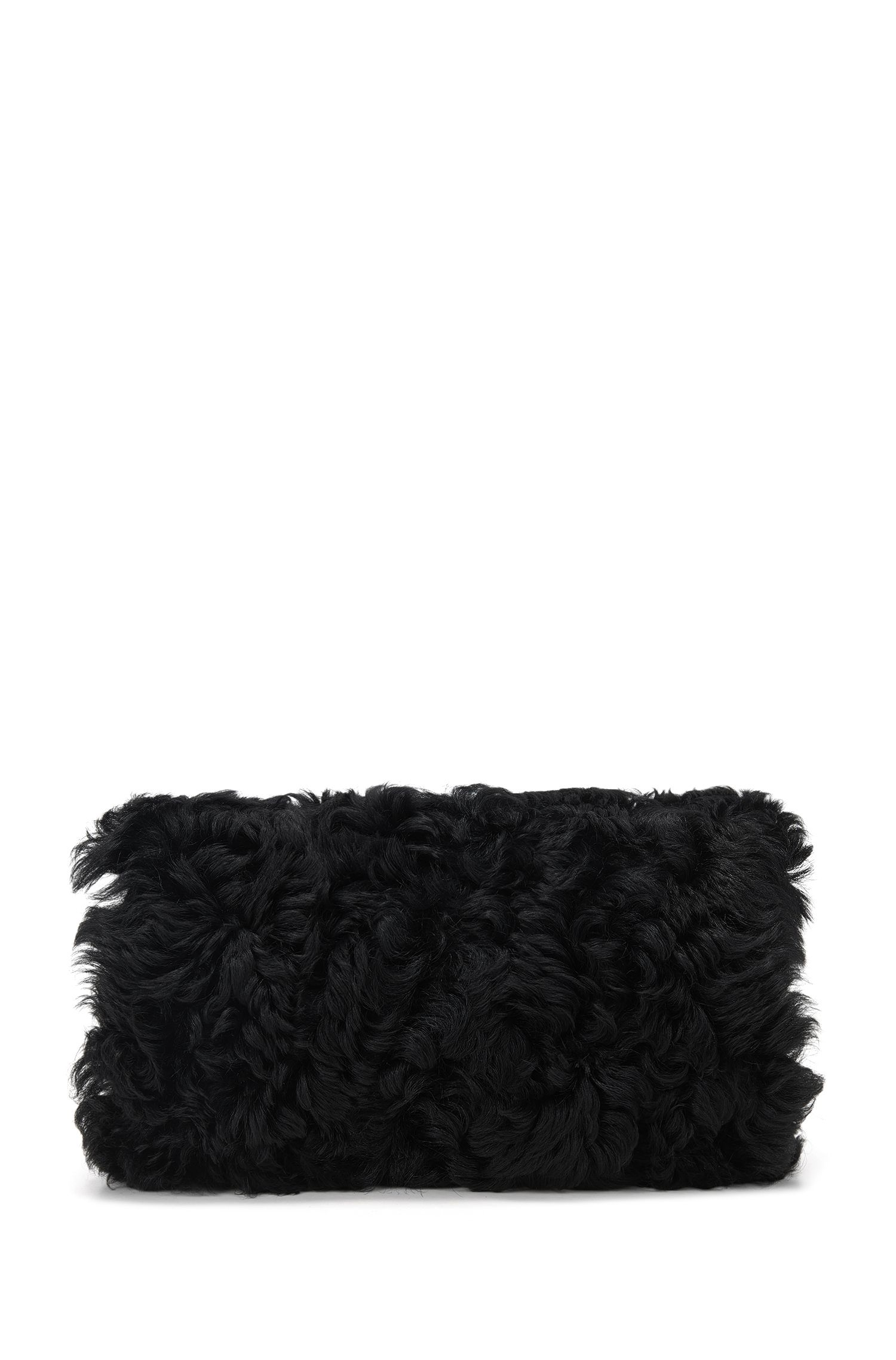 Shearling hand muff with chain detail
