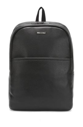 Backpack in grained leather, Black