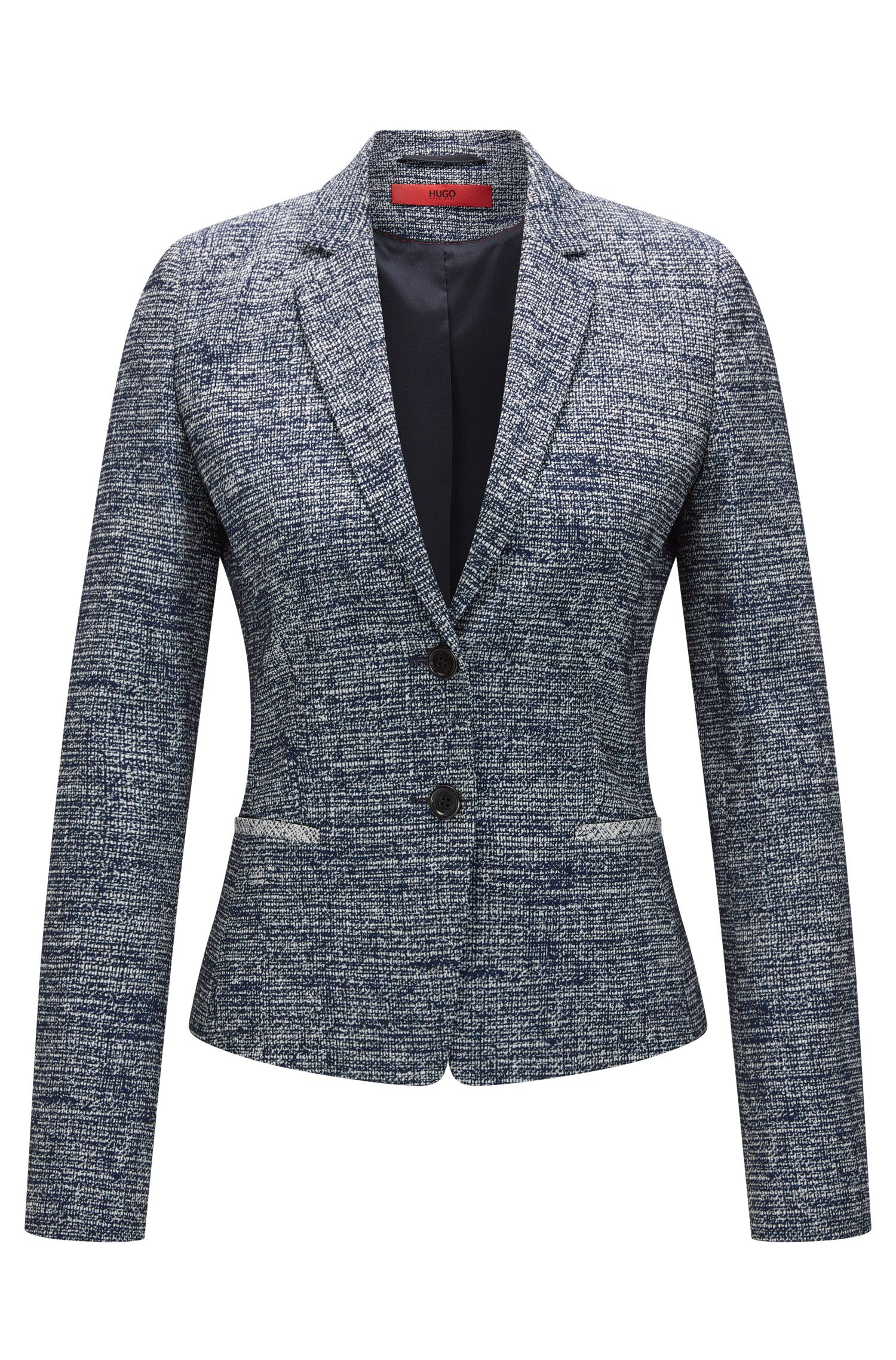 Regular-Fit Blazer aus elastischem Tweed