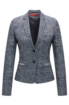 Regular-Fit Blazer aus elastischem Tweed, Dunkelblau