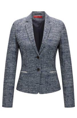 Blazer Regular Fit en tweed de coton mélangé, Bleu foncé