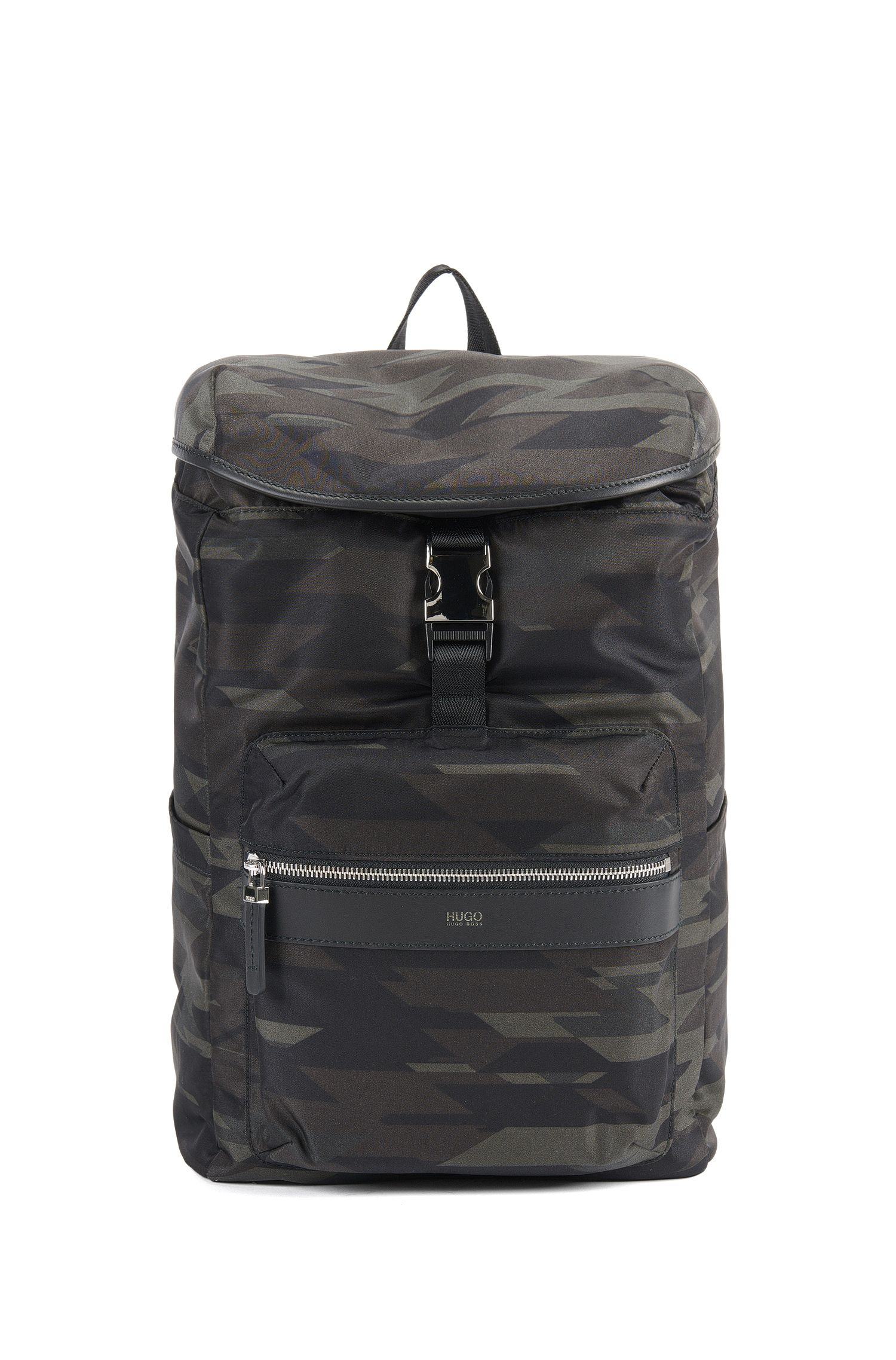 Camouflage-print nylon backpack with leather trim