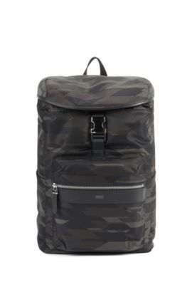 Camouflage-print nylon backpack with leather trim, Patterned