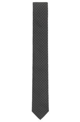 Jacquard tie in patterned silk, Black