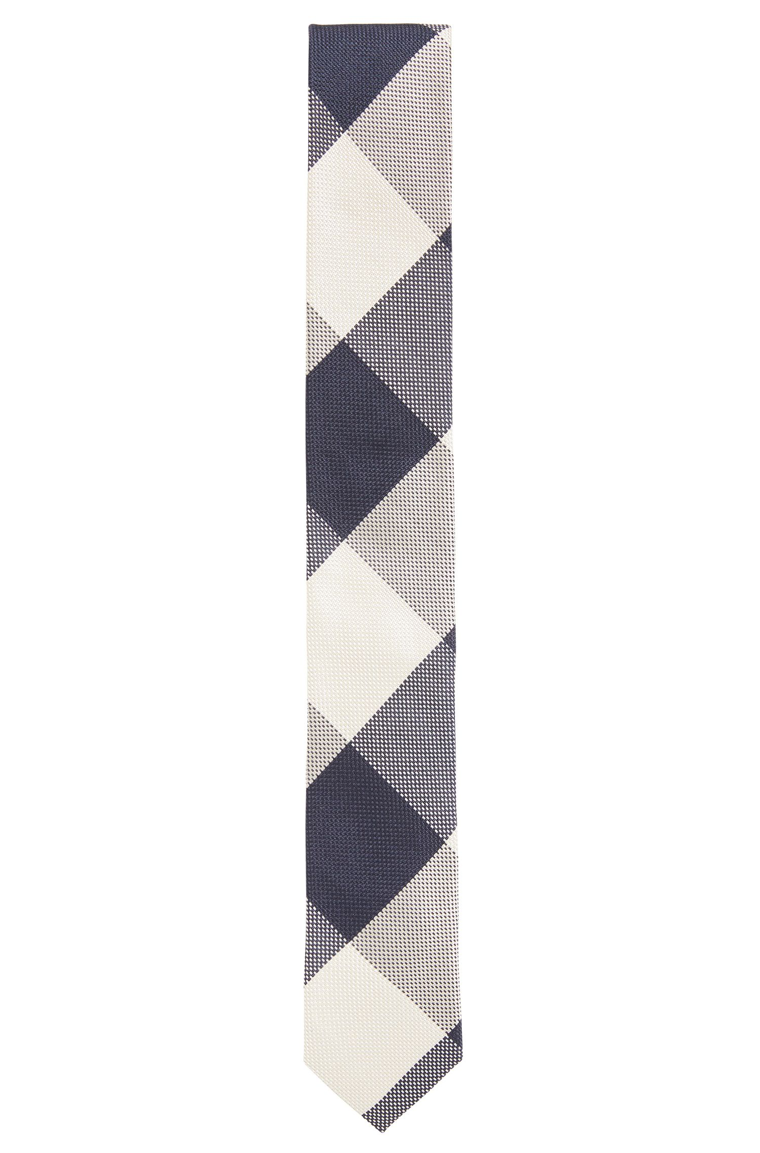 Jacquard tie in checked silk