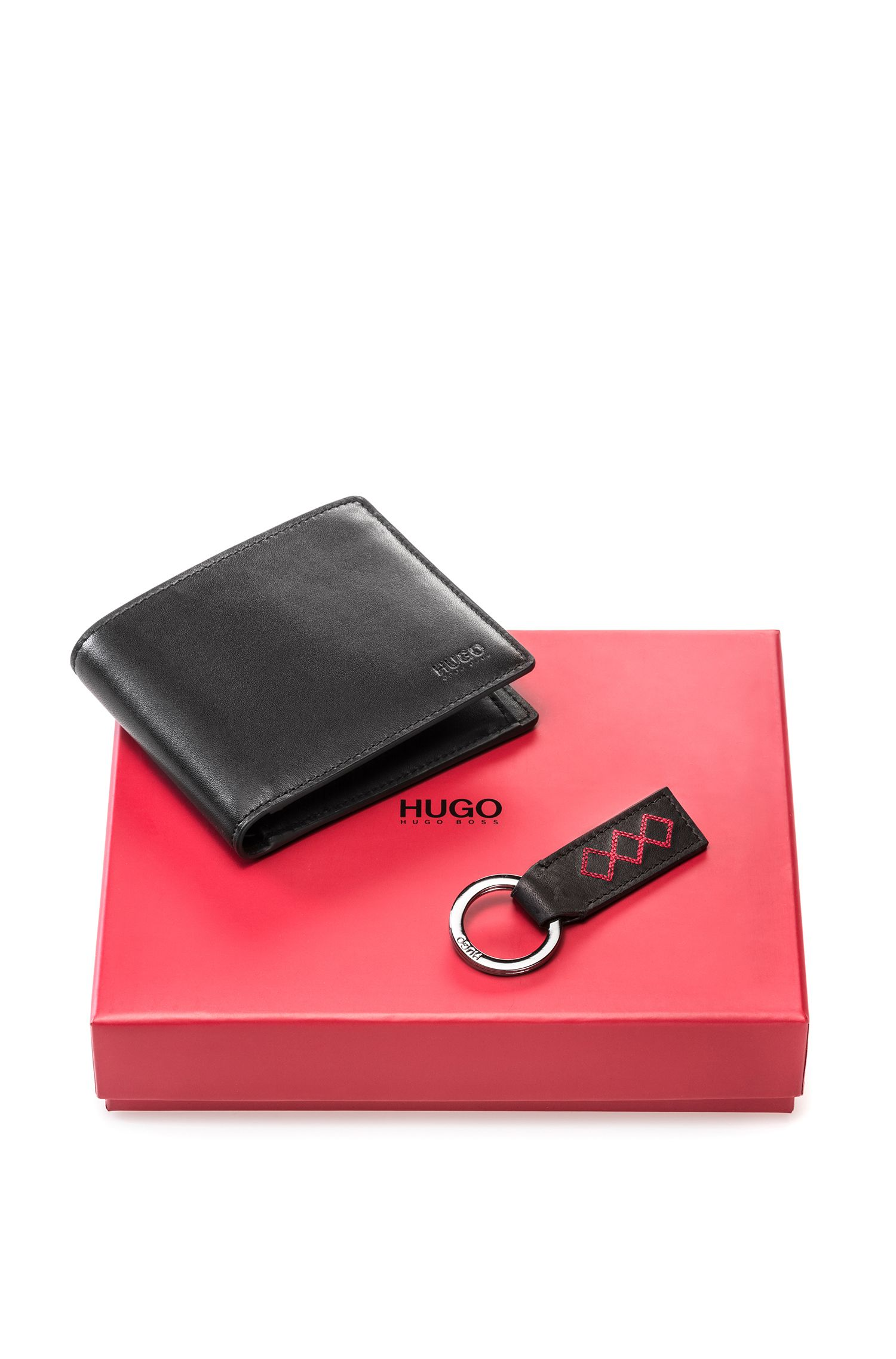 Leather wallet and key ring gift set with red stitching detail