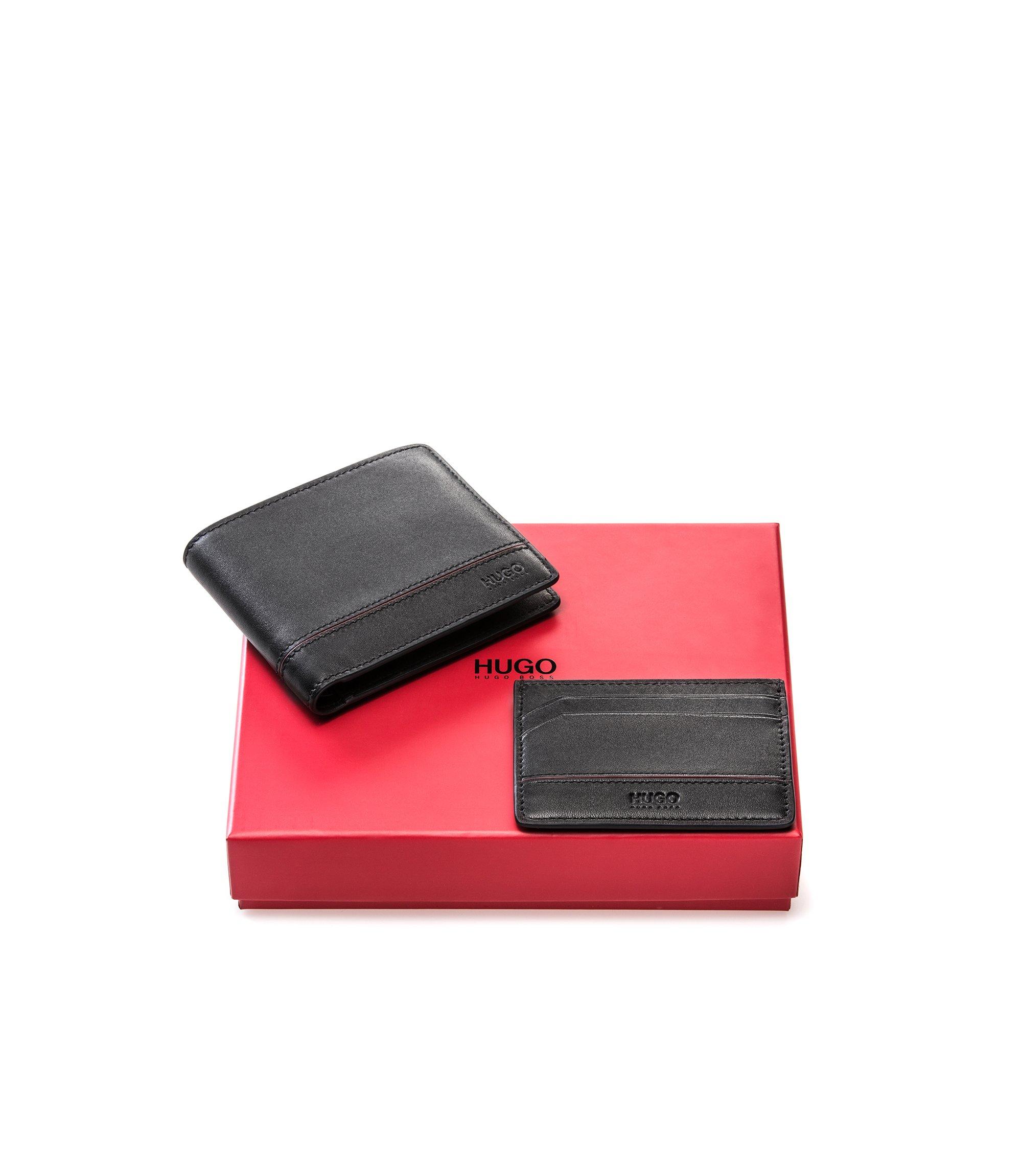 Coffret cadeau avec portefeuille et porte-cartes en cuir , Noir