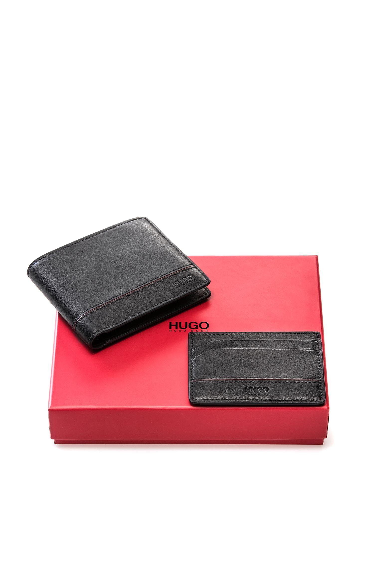 Geschenk-Set mit Geldbörse und Kartenetui aus Leder