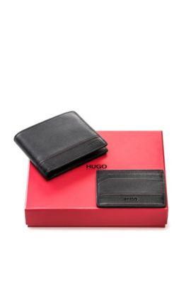 Leather wallet and card case gift set , Black