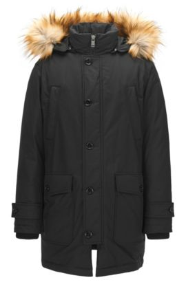 Relaxed-fit parka in water-repellent technical fabric, Black