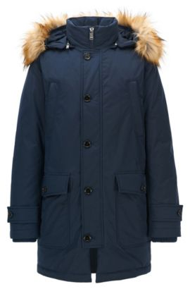 Parka relaxed fit in tessuto tecnico idrorepellente, Blu scuro