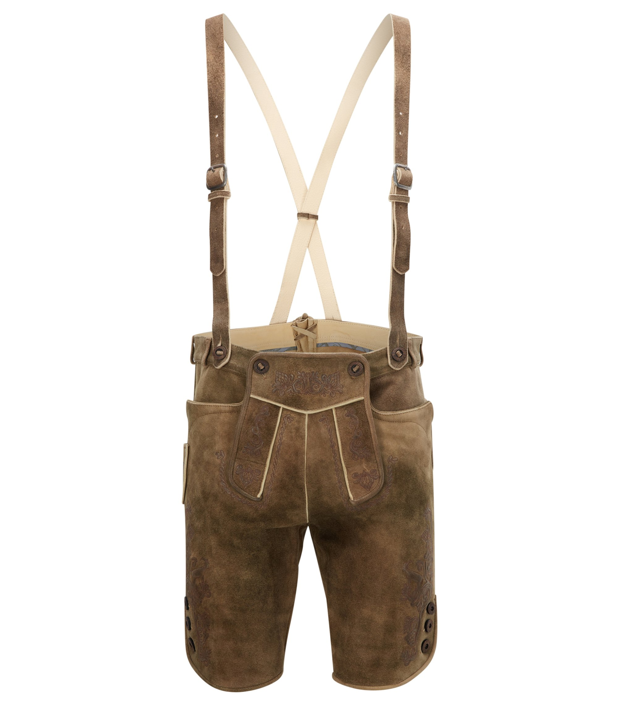 Traditionelle Relaxed-Fit Lederhose, Khaki