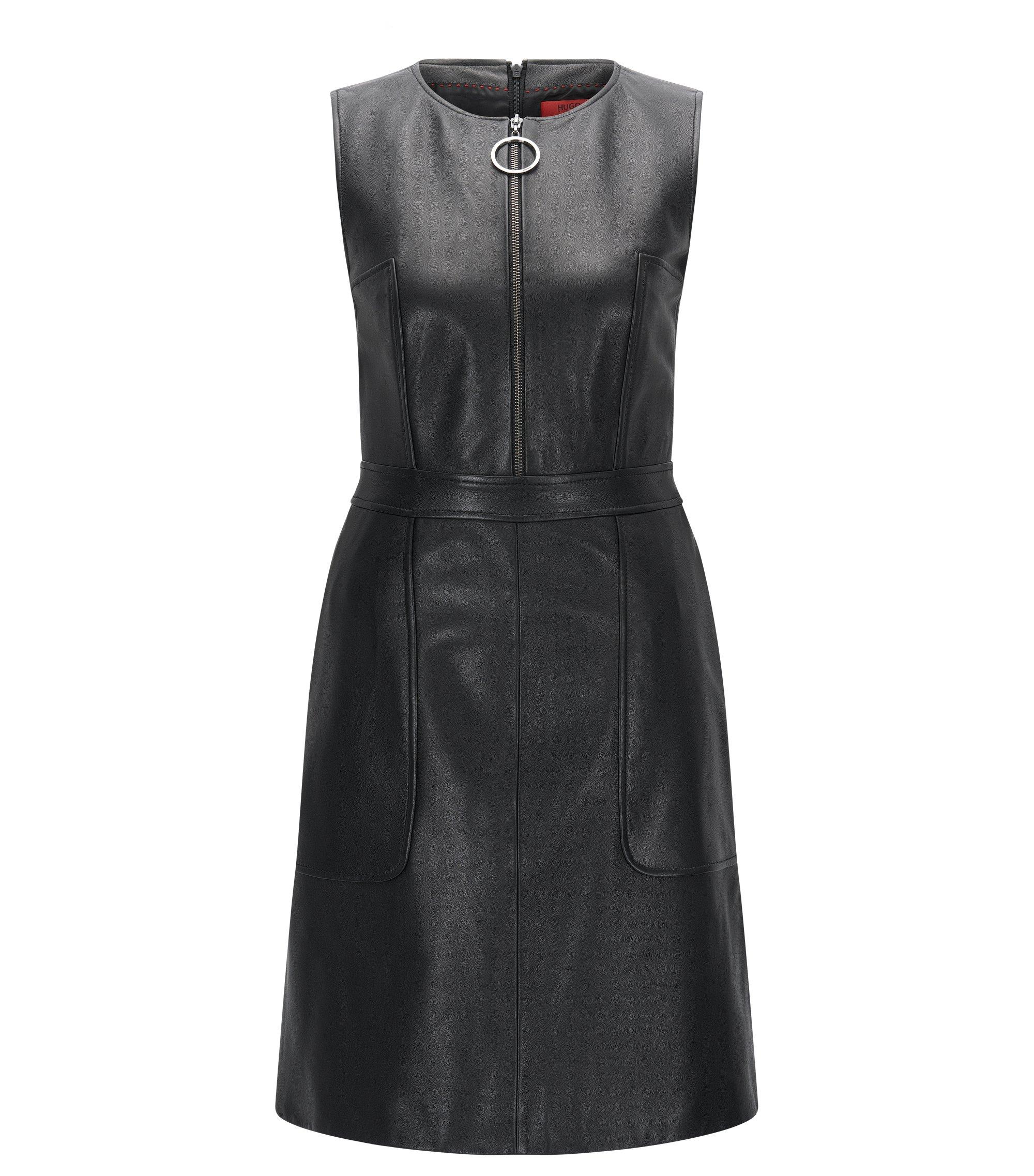 Regular-Fit Kleid aus genarbtem Leder, Schwarz