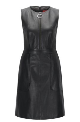 Regular-fit dress in grained leather, Black