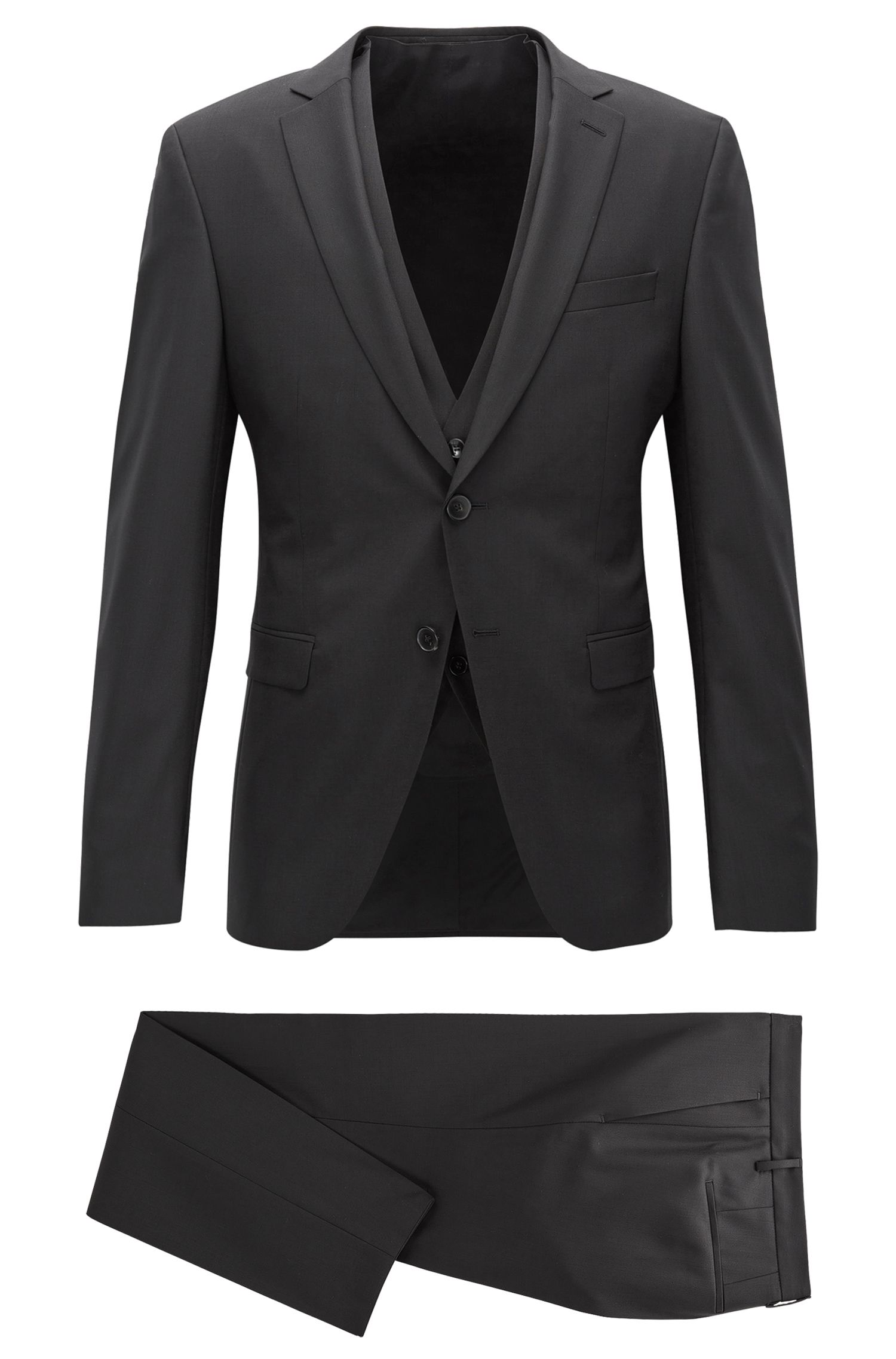 Extra-slim-fit three-piece wool suit