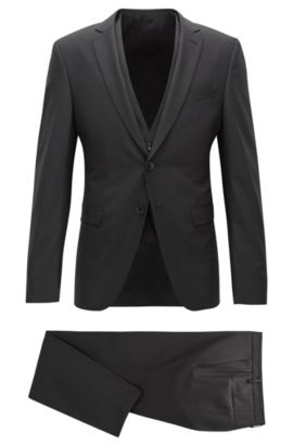 Extra-slim-fit three-piece wool suit, Black