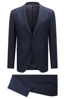 Extra-slim-fit suit in virgin wool, Blue