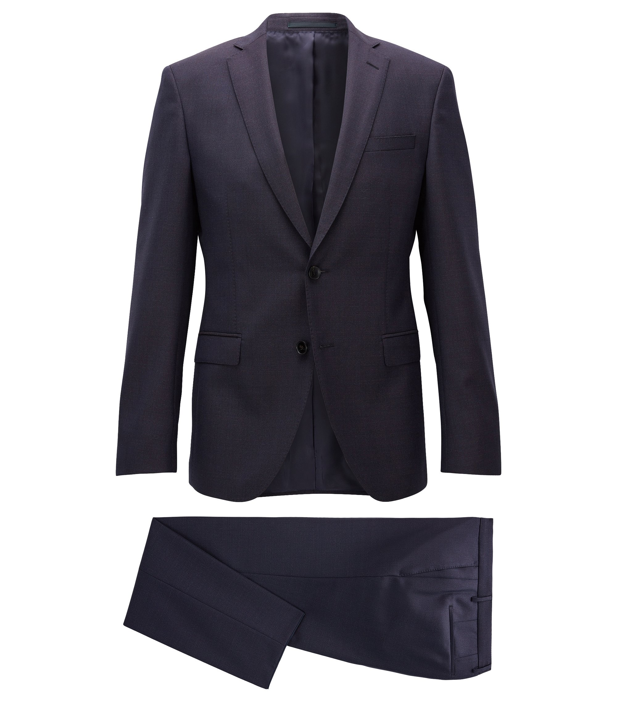 Extra-slim-fit suit in virgin wool, Dark Blue