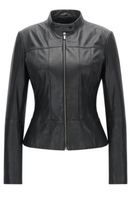 Regular-fit biker jacket in soft leather, Zwart