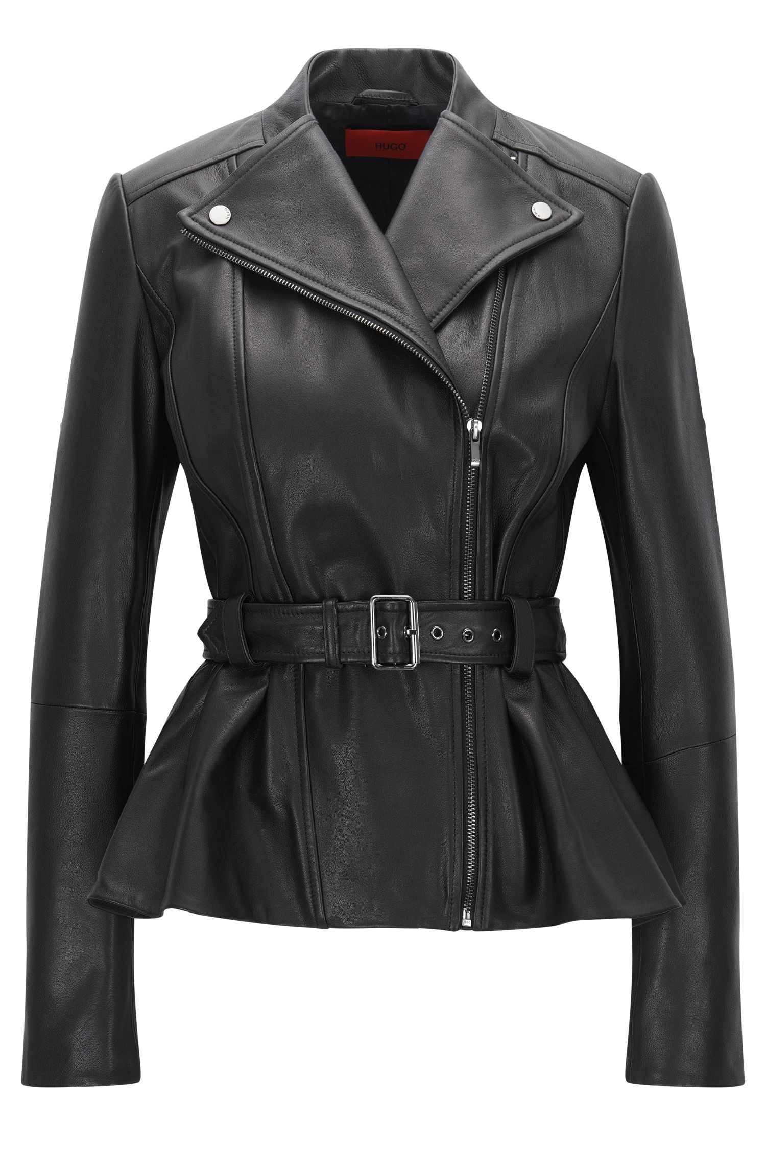 Cazadora biker regular fit en piel lisa