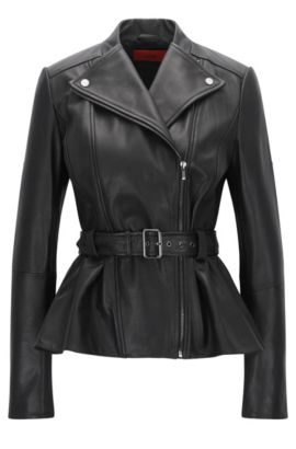 Regular-fit biker jacket in smooth leather, Black