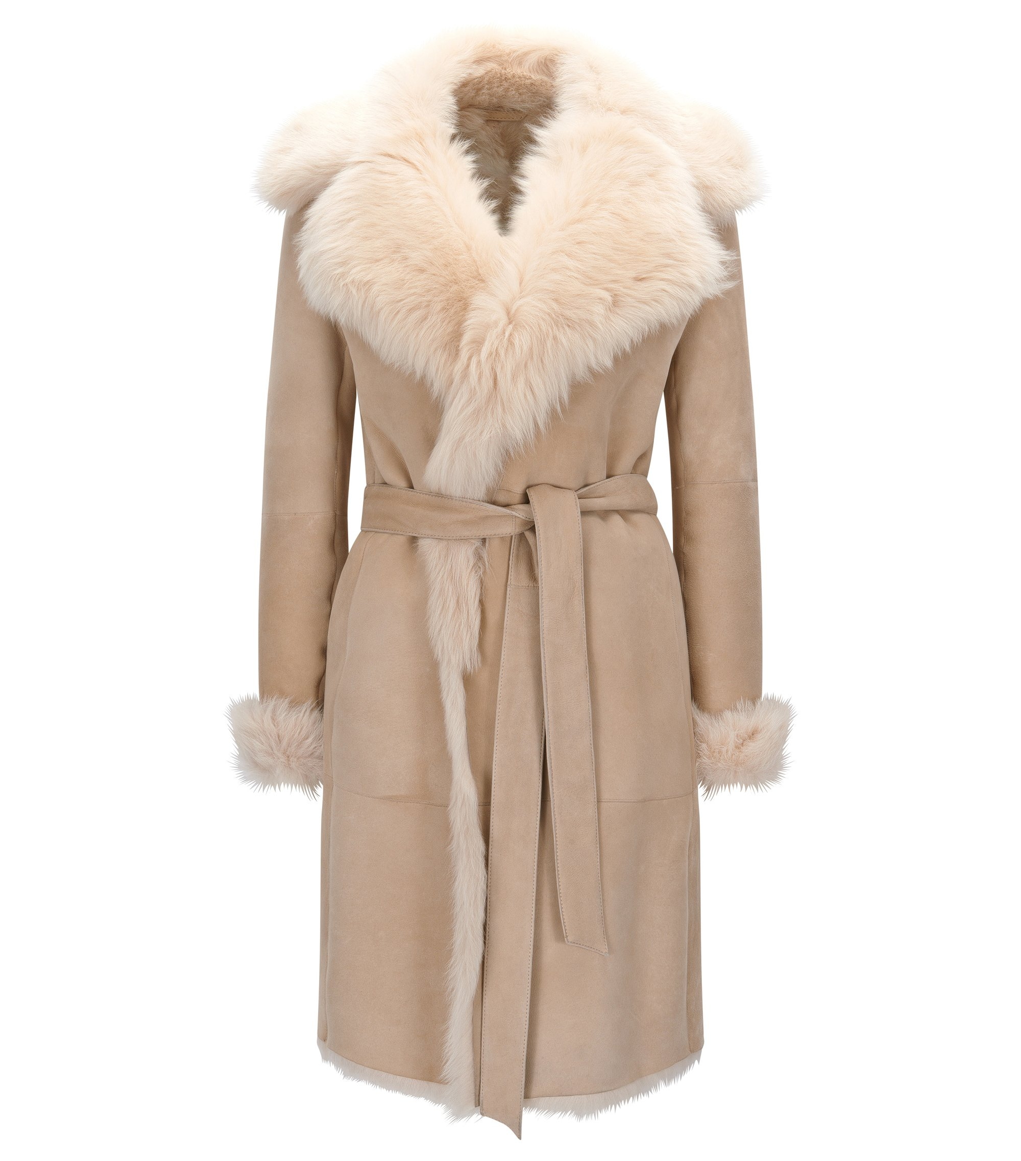 Regular-fit mantel van shearling, Beige
