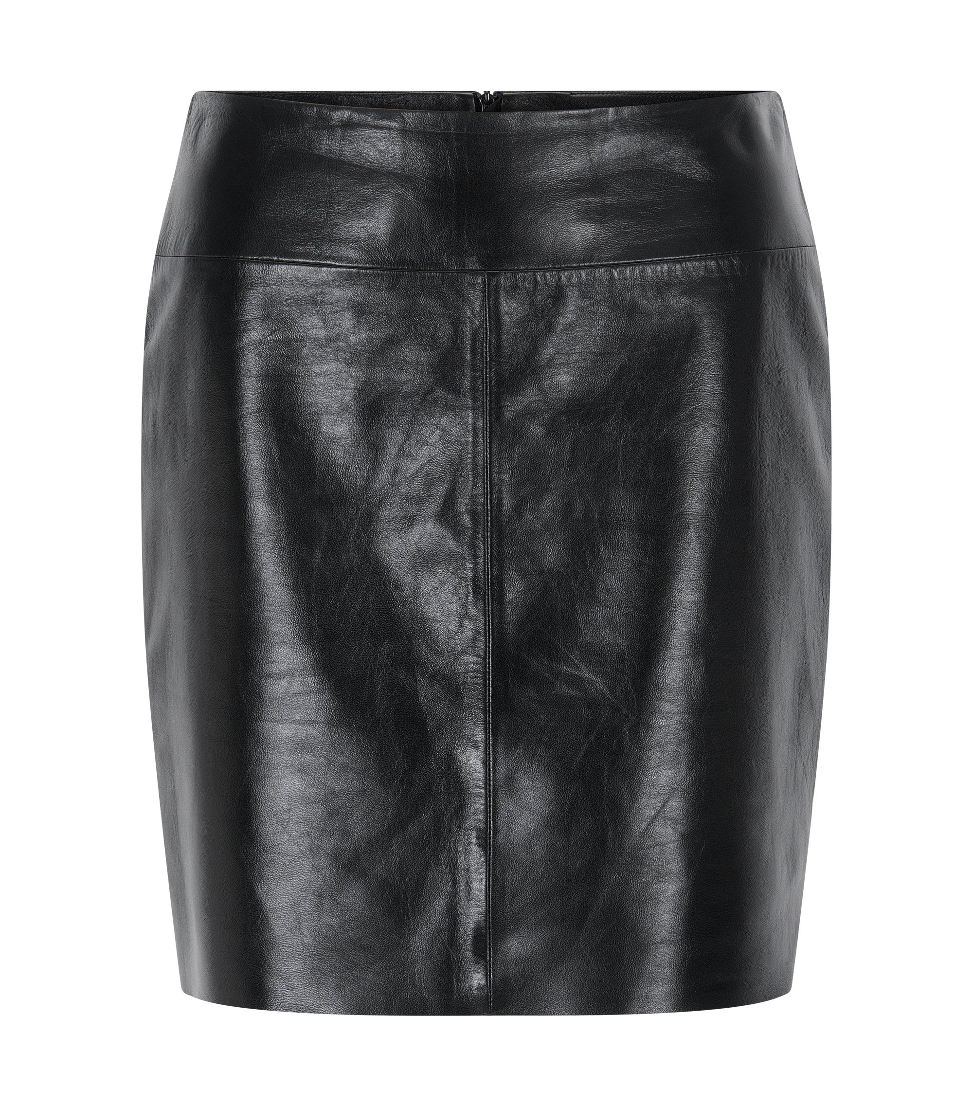 Regular-fit pencil skirt in lacquered leather, Black