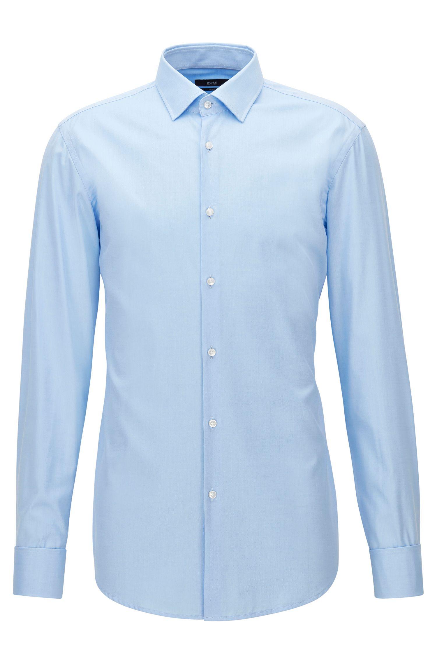 Slim-fit overhemd in een katoentwill met dubbele manchetten