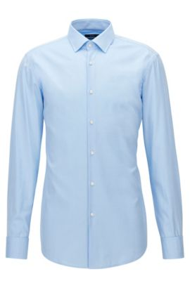Slim-fit cotton twill shirt with double cuffs , Light Blue
