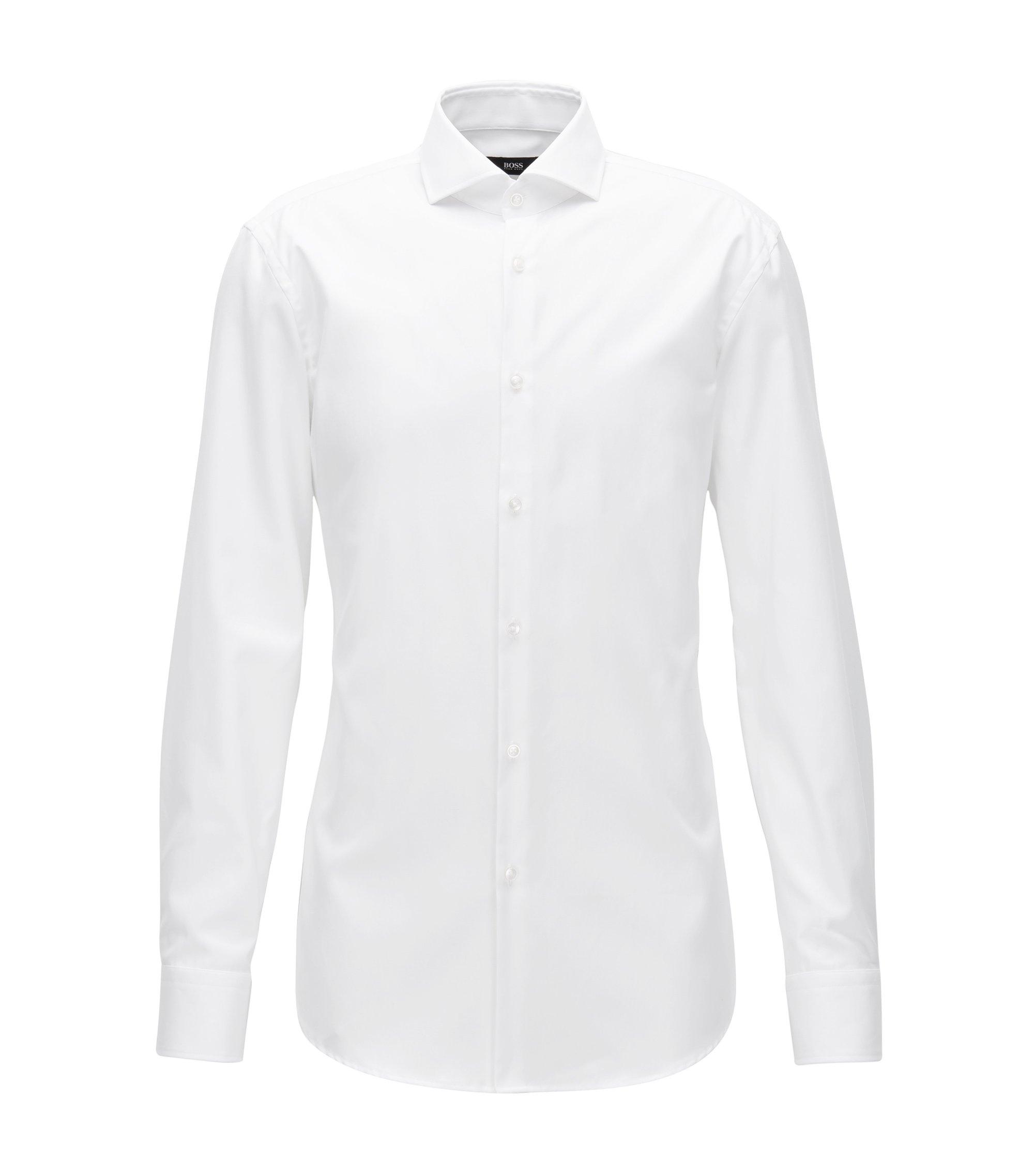 Chemise Slim Fit en twill de coton à col italien, Blanc