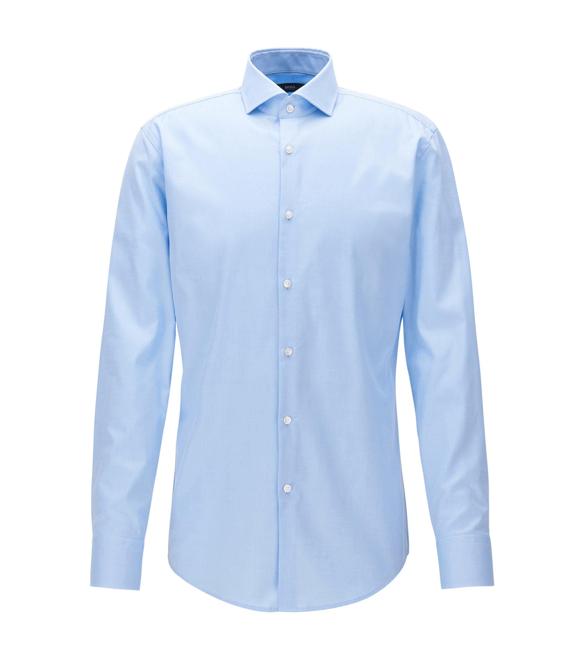Chemise Slim Fit en twill de coton à col italien, Bleu vif