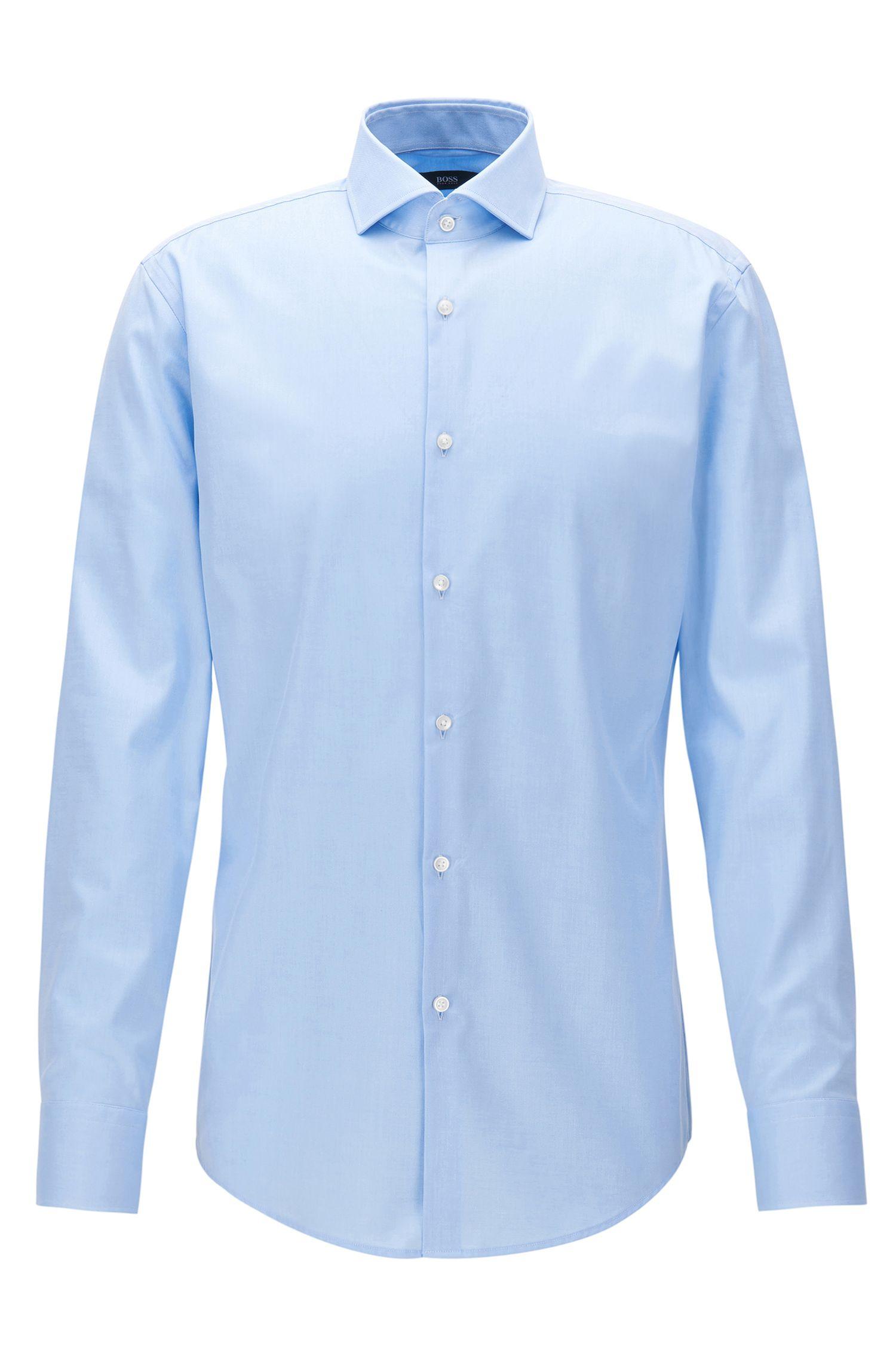 Slim-fit overhemd in een katoentwill met gespreide kraag